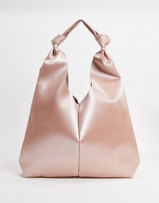 ASOS DESIGN knot strap tote bag in coated blush satin