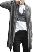 uxcell Allegra K Men Shawl Collar High-Low Hem Long Cardigan XL Grey