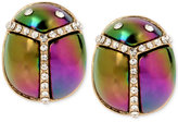 Betsey Johnson Gold-Tone Iridescent and Pavé Scarab Stud Earrings