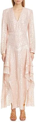 Stella McCartney V-Neck Long Sleeve Silk Blend Dress