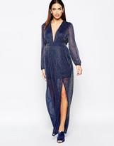 Rare Long Sleeve Maxi Dress in Glitter Fabric