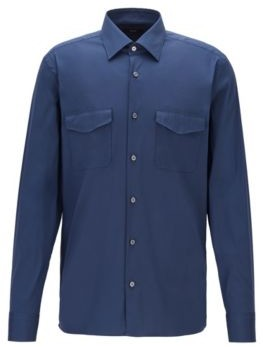 HUGO BOSS - Relaxed Fit Cotton Blend Shirt With Twin Chest Pockets - Open Blue