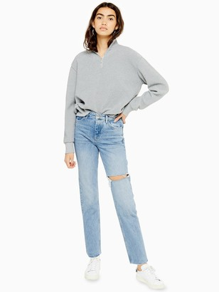 Topshop Bleach Wash Ripped Straight Leg Jeans - Bleached