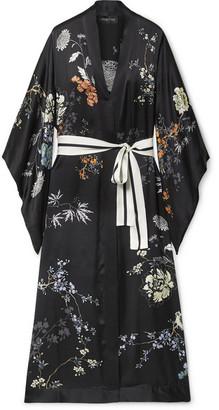 MENG Floral-print Silk-satin Robe - Black