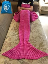 """LAGHCAT Mermaid Tail Blanket Fleece and Mermaid Blanket for Child, All Seasons Sleeping Blankets (56""""X28"""", Rose red)"""