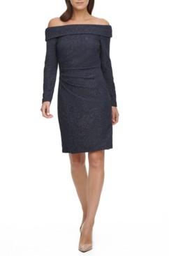 Brinker & Eliza Petite Glitter Off-The-Shoulder Sheath Dress