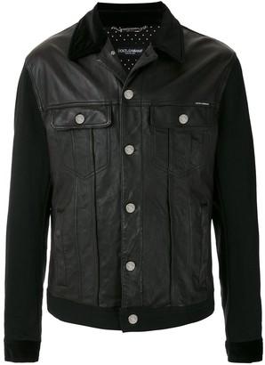 Dolce & Gabbana Denim And Leather Mixed Jacket