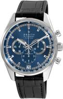 Zenith Men's El Primero 36-Feet 000 VPH Sunray Patterned Chronograph Dial Watch with Black Leather Strap