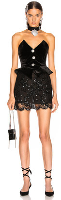 Alessandra Rich Sequin Velvet & Lace Bustier Mini Dress in Black | FWRD