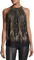 Max Studio Sleeveless Lace Halter Top, Black/Nude