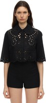 RED Valentino CROPPED COTTON EYELET LACE SHIRT