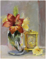 One Kings Lane Vintage Lilies w/ Clock Still LIfe