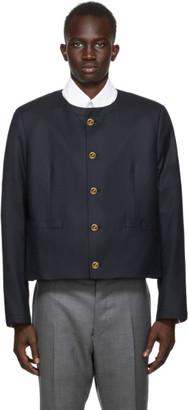 Thom Browne Navy Super 120s Wool Cardigan