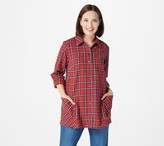Joan Rivers Classics Collection Joan Rivers Tartan Plaid Flannel Shirt