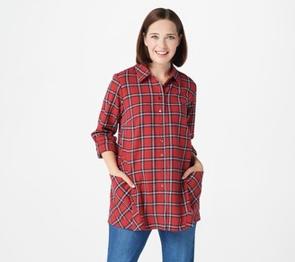 Joan Rivers Classics Collection Joan Rivers Tartan Plaid Flannel Shirt