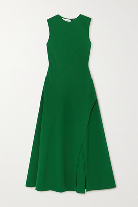 Oscar de la Renta Paneled Wool-blend Crepe Midi Dress - Green