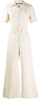 Gucci GG logo belted jumpsuit