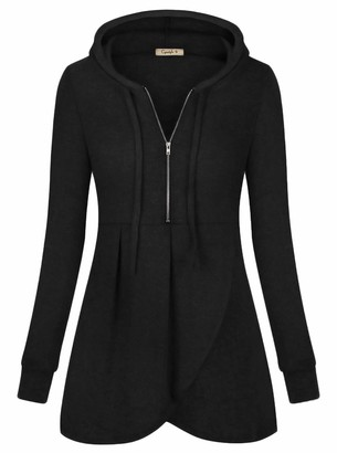 Cyanstyle Women's Zip V Neck Long Sleeve Pullover Casual Thin Hoodies Blouse Tops with Pocket Black XX-Large