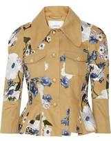 Erdem Shari Embroidered Cotton-Canvas Peplum Jacket