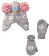 Little Me Fuzzy Chenille Flower Peruvian Knit Set (Baby Girls)