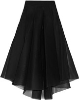 Milly Pleated mesh midi skirt
