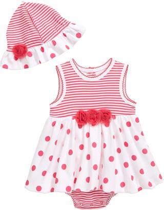 Little Me Polka Dot Bodysuit Dress & Sun Hat Set
