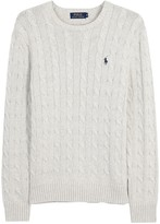 Polo Ralph Lauren Light Grey Cable-knit Cotton Jumper