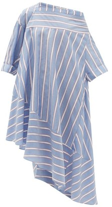Palmer Harding Palmer//harding - Ribbon-stripe Off-the-shoulder Poplin Dress - Blue Multi