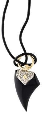 Alexis Bittar Leather Cord Shark Tooth Pendant Necklace