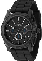 Fossil Fs4487 Machine Chronograph Rubber Strap Watch, Black