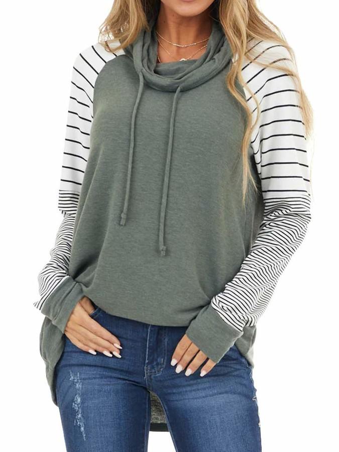 Women Striped Jumper Casual Long Sleeve Pullover Ladies Sweatshirt Tops Shirt UK