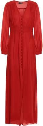 Nicholas Smocked Silk-georgette Maxi Dress