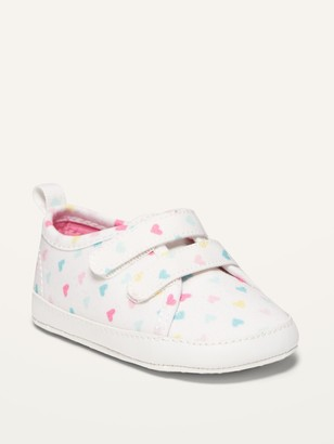 Old Navy Unisex Valentine's Heart-Print Double-Strap Canvas Sneakers for Baby