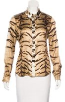Roberto Cavalli Tiger Print Button-Up Top
