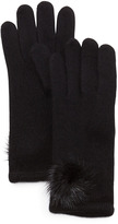 Portolano Mink-Pom-Pom Cashmere Gloves, Black