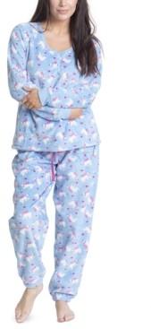 Muk Luks Printed Dimple Fleece Cozy Pajama Set