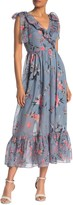 French Connection Cecile Floral Print Sheer Midi Dress
