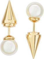Majorica Golden Pearl Spike Front-Back Stud Earrings, 8mm