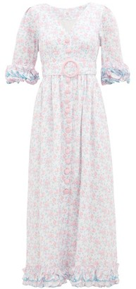 Gül Hürgel Ruffled Sleeve Floral-print Linen Dress - Pink Multi