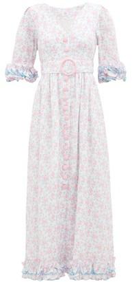 Gül Hürgel Ruffled Sleeve Floral-print Linen Dress - Womens - Pink Multi