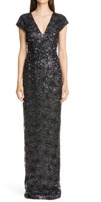 Pamella Roland Metallic Sequin & Crystal Embellished Gown