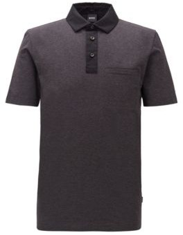 HUGO BOSS Slim Fit Polo Shirt With Contrast Accents - Open Grey