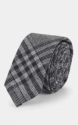 Thom Browne Men's Prince Of Wales Checked Wool Necktie - Charcoal