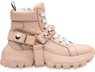 Miu Miu Embellished Strap High-Top Sneakers