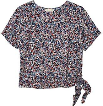 MICHAEL Michael Kors Dainty Bloom Side Tie Top (Coral Peach) Women's Blouse