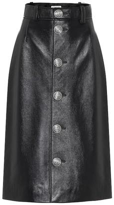 Balenciaga Leather midi skirt