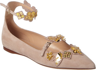 Valentino Embroidered Suede Ankle Strap Ballerina Flat