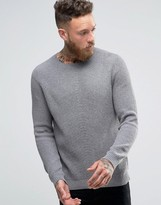 Asos Crew Neck Cashmere Mix Ribbed Sweater in Gray