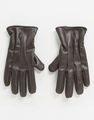 Jack and Jones faux leather gloves in brown