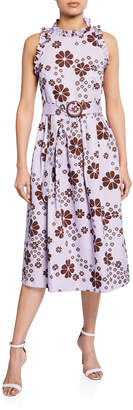 Kate Spade floral-print sleeveless belted midi racerback dress